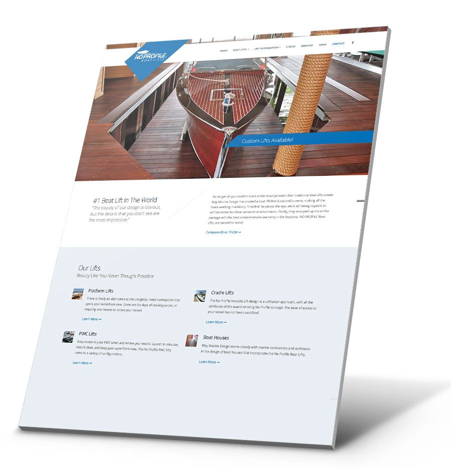 No Profile Boat Lifts WordPress Website Design