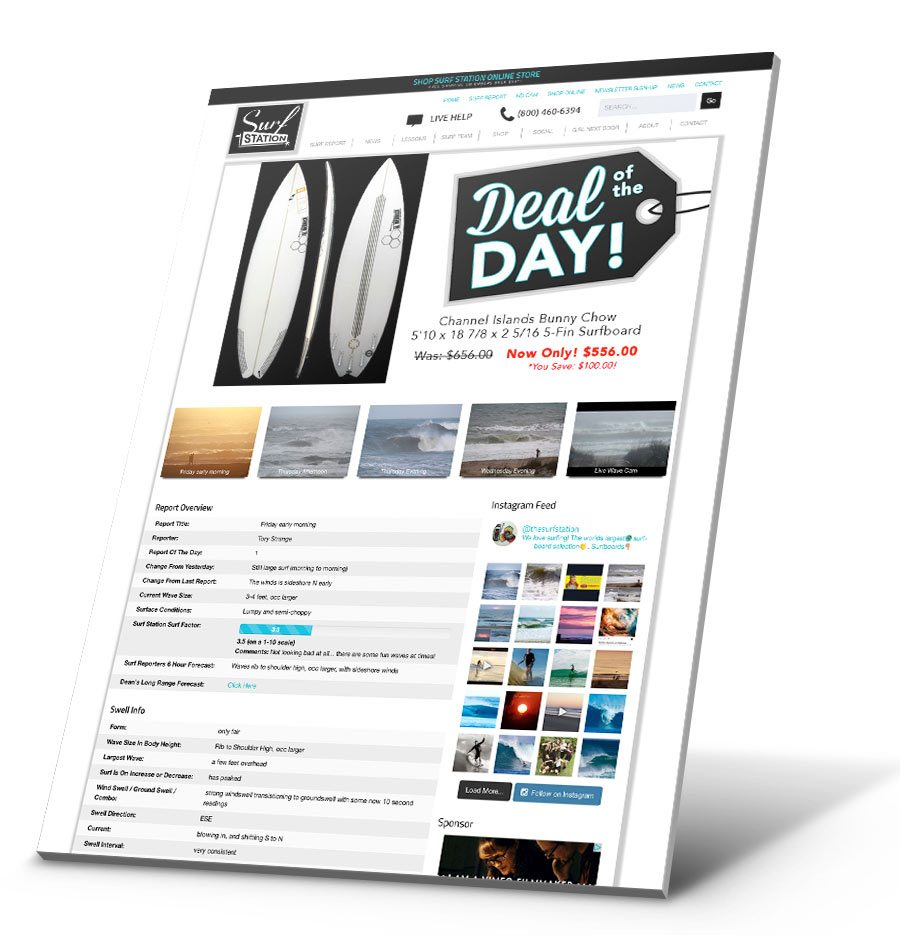 Surf Station Surf Report WordPress Website Design