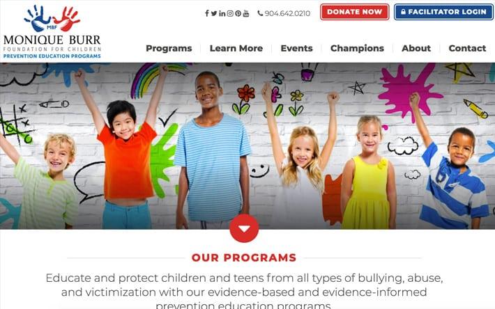 Jacksonville Web Design Case Study on Monique Burr Foundation for Children